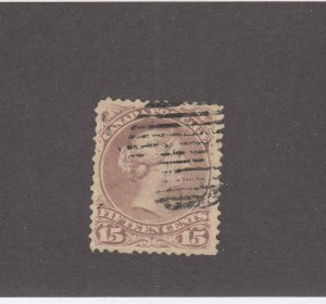 CANADA (KSG893) # 29b  F-USED 15cts QV LARGE QUEEN / RED LILAC CAT VALUE $80