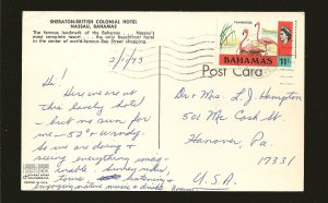 Bahamas 322 on Postmarked 1973 Nassau to USA Postcard Used