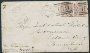 Great Britain 1878, Scott #66 Pair on Cover, Glasgow, Scotland to Cornwall, PA