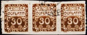 Czechoslovakia. 1919 30h(Strip of 3) S.G.D29 Fine Used
