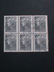 FRANCE STAMP-2008 SC#3455 MARIANNE AND STARS -USED BLOCK OF 6-EST.-$3  VF