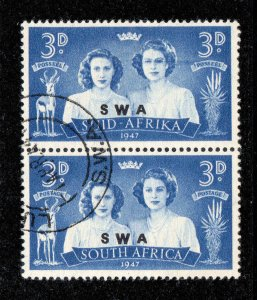 South West Africa 1947 3d Black Eyed Princess flaw SG 136a used
