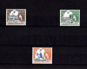 BASUTOLAND - 1954 - QE II - QILOANE - ORANGE RIVER - HORSEMAN - 3 X MNH SINGLES!