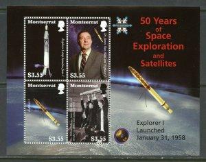 MONTSERRAT  50 YEARS OF SPACE EXPLORATION & SATELLITES EXPLORER 1  SHEET MINT