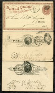 261 - LOT of (3) Postal Cards. All sent to CANADA. Bank, Ladies' Journal, Patent