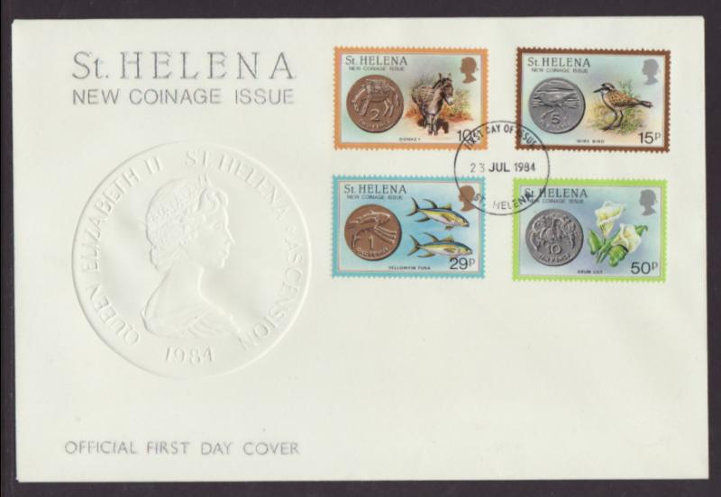St Helena 416-419 Coins on Stamps U/A FDC