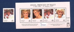 NORFOLK ISLAND - 644-645  - VF MNH -  Lady Diana of Wales -