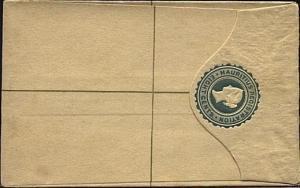 MAURITIUS QV 8c small size registered envelope unused..............19269