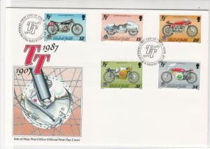 Isle of Man Post Office 1987 TT  Official FDC Motorbikes Stamps Cover Ref 28551