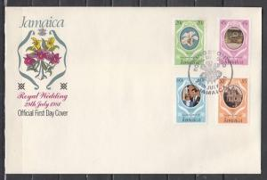 Jamaica, Scott cat. 500-503.  Orchid value on Royal Wedding. First day cover. ^