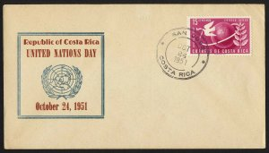 wc024 Costa Rica United Nations Day Oct. 24, 1951 FDC first day cover