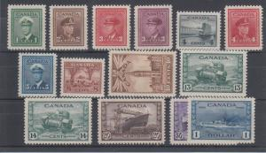 Canada Sc 249-262 MLH. 1942-43 KGVI War Issue VF