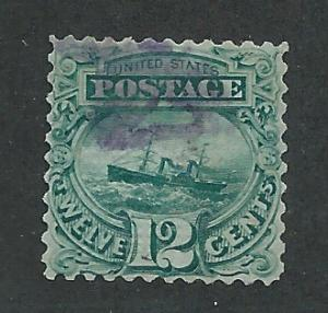 117 Used,  12c. S.S. Adriatic,  scv: $380 Purple cxl, Cert.