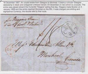 1857 Glasgow to Montreal Cunard Niagara via Boston, 1 sh 8p double rate