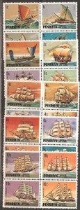 Penrhyn MNH 160-4 Blocks Sailing Ships