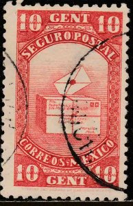MEXICO G1, 10cents INSURED LETTER. USED. F-VF (702)