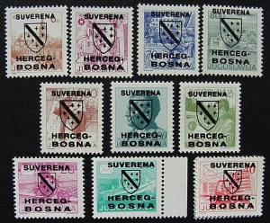 Bosnia & Herzegovina, Unlisted Overprints, set of 10