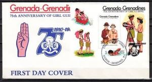 Grenada, Gr., Scott cat. 661. 75th Girl Scout Anniversary s/s. First day cover.