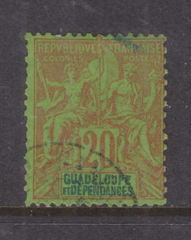 GUADELOUPE, 1892 Tablet, 20c. Red on Green, used.