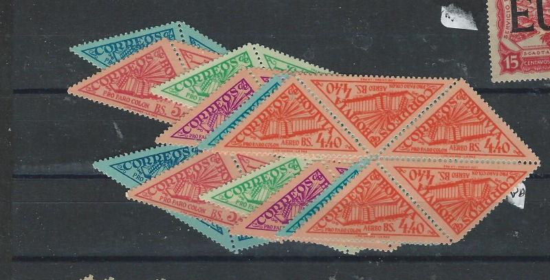 BOLIVIA  (P0508B) TRIANGLE STAMPS SC 373-5, C165-7 BL OF 5  MNH