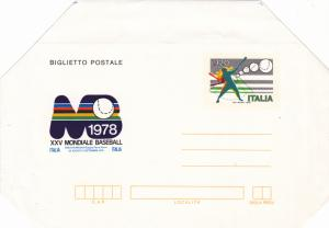 Italy Air Mail Stationery 1978 XXV Mondiale Baseball  L.120