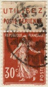 FRANCE - 1937 pub UTILISEZ LA POSTE AÉRIENNE sur Yv.360b 30c Semeuse t.III