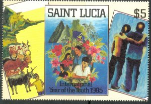ST LUCIA 1985 $5 From International Year of the Youth Souvenir Sheet Sc 795a MNH