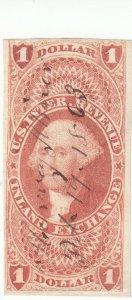 Scott # R69a - Revenue stamp - $1 Inland Exchange, red- Used