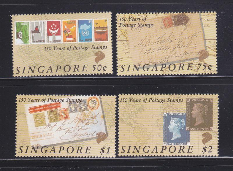 Singapore 563-566 Set MNH Stamps On Stamps (B)