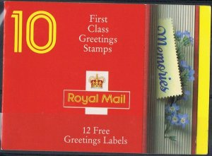 1992 £2.40 Greetings booklet with cylinder numbers SG KX4 TS298