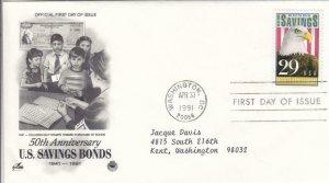 1991, 50th Anniv. U. S. Savings Bonds, Artcraft, FDC (D8329)