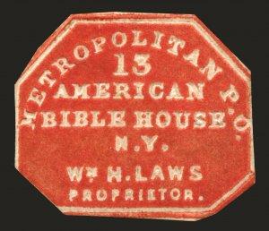#108L3 1852-53 2c Red Metropolitan Post Office Embossed Local Unused