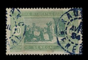 SÉNÉGAL - 1924 - CAD DOUBLE CERCLE ERRONÉ KAOLACK / SÉNÉGAL EN BLEU SUR N°73