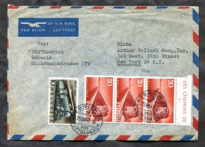 p462 - SWITZERLAND 1947 Airmail Cover to USA. Train Stamps
