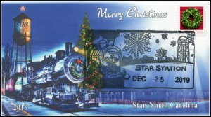 19-296, 2019, Christmas, Pictorial Postmark, Event Cover, Star NC, Train