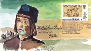 Guernsey 1992 Christopher Columbus  Wild Horse Cachet FDC Hand Painted VF+