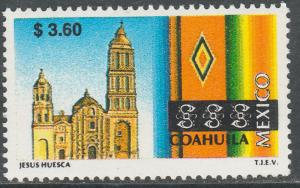 MEXICO 2126, $3.60 Tourism Coahuila, church, sarape. Mint, Never Hinged F-VF.