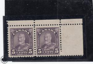 CANADA  # 169  VF-MNH  5cts 1928 KING GEORGE V ARCH/LEAF PAIR CAT VALUE $48