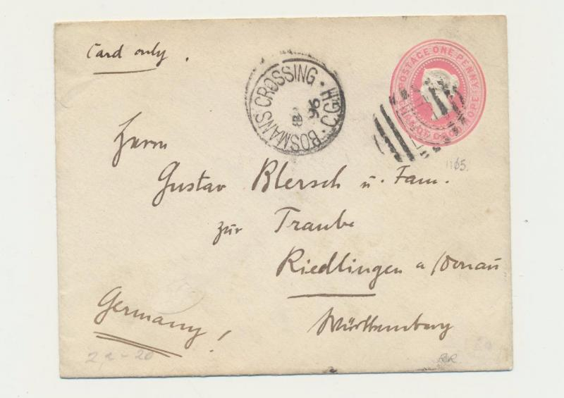 CAPE OF GOOD HOPE -WURTTEMBURG 1896 BOSMANS CROSSING CDS ON 1d ENVELOPE