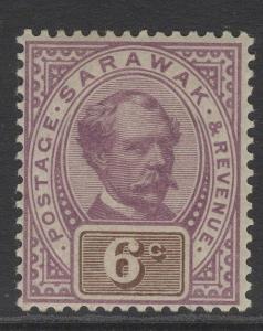 SARAWAK SG13 1888 6c PURPLE & BROWN MTD MINT