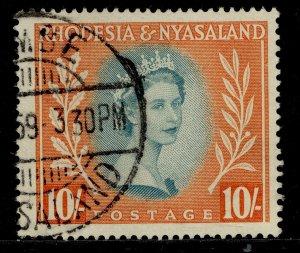RHODESIA & NYASALAND QEII SG14, 10s dull blue-green & orange, FINE USED. Cat £11