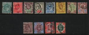 Great Britain Sc127-38 1902 Edward VII stamp set used