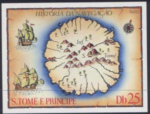 St Thomas & Prince 540 MNH Map, Sailing Ships