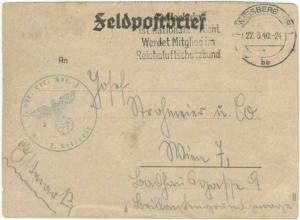 Germany Soldier's Free Mail 1940 Konigsberg (Pr) 1 Luftschutz ist Nationale P...