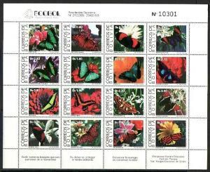 Bolivia, Scott cat. 889 A. Butterflies sheet of 16 values.