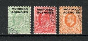 Morocco Agencies 1907-13 GB opts 1/2d, 1d and 4d FU CDS