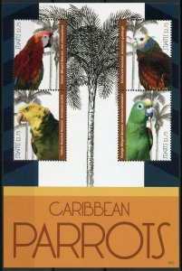 St Kitts Birds on Stamps 2012 MNH Caribbean Parrots Macaws Amazons 4v M/S