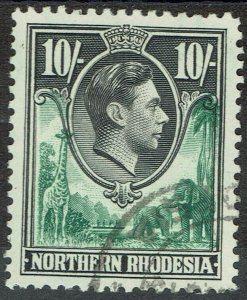 NORTHERN RHODESIA 1938 KGVI GIRAFFE AND ELEPHANTS 10/- USED