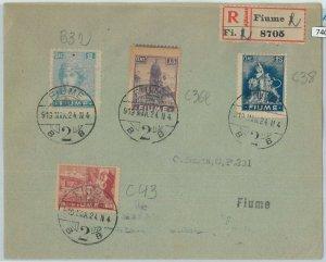 74098 -  ITALIA: FIUME - STORIA POSTALE :    BUSTA RACCOMANDATA  1924