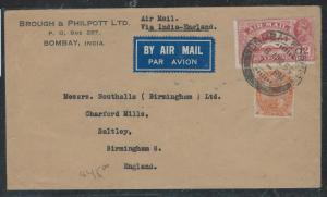 INDIA (P2806B) KGV 1935 A/M 12A+  2A 6P TO ENGLAND